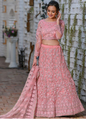 Pink Reception Net Designer Lehenga Choli