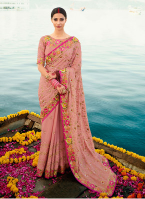 Pink Reception Silk Designer Saree
