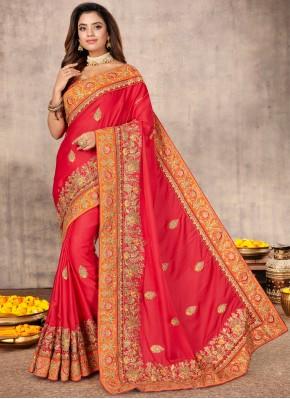 Pink Resham Satin Designer Saree