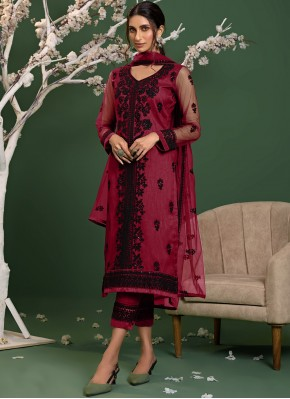 Pink Resham Trendy Salwar Kameez