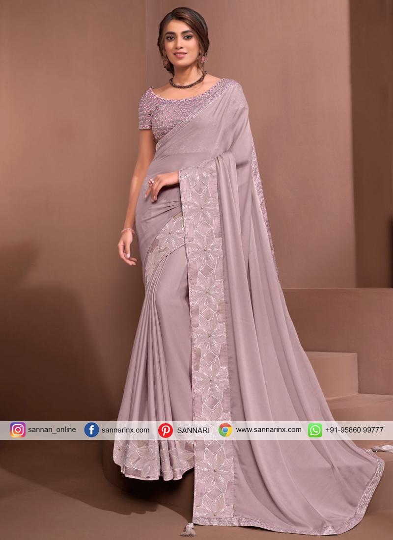 Pink Sangeet Georgette Designer Saree