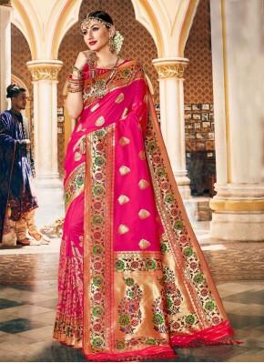 Pink Sangeet Silk Traditional Designer Saree