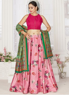 Pink Satin Readymade Lehenga Choli