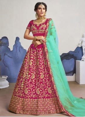 Pink Satin Silk A Line Lehenga Choli