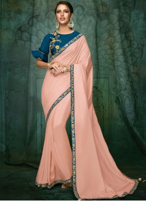 Pink Satin Silk Bridal Designer Traditional Saree