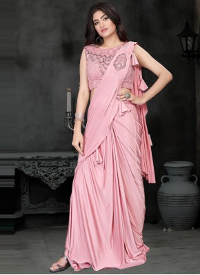 Pink Sequins Lycra Classic Saree