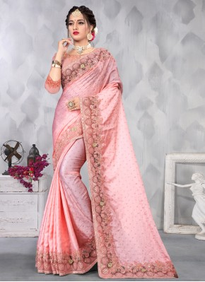 Pink Sequins Satin Designer Saree
