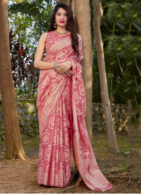 Pink Silk Ceremonial Traditional Saree