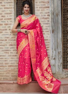 Pink Silk Designer Saree