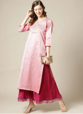 Pink Silk Festival Party Wear Kurti