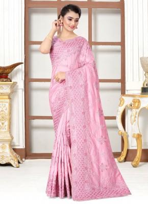 Pink Silk Resham Traditional Designer Saree