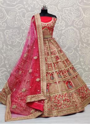 Pink Silk Sangeet Lehenga Choli
