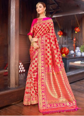 Pink Silk Trendy Saree