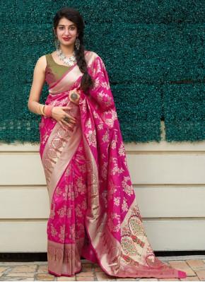 Pink Silk Weaving Classic Designer Saree