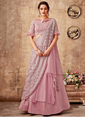 Pink Tissue Fancy Layered Lehenga Saree with Designer Blouse