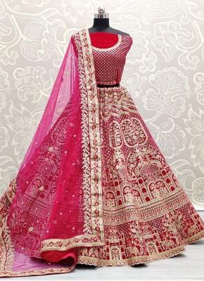 Pink Velvet Resham Lehenga Choli
