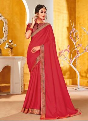 Pink Vichitra Silk Festival Traditional Saree