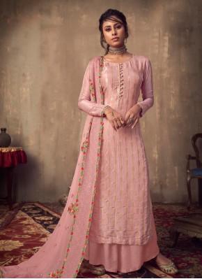 Pink Viscose Designer Palazzo Salwar Suit