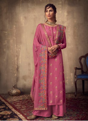 Pink Viscose Wedding Designer Palazzo Suit