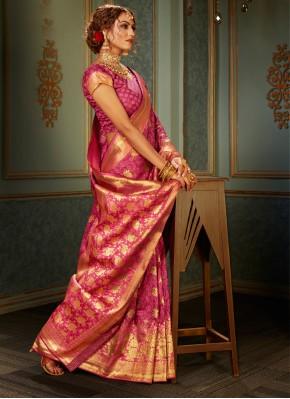 Pink Woven Banarasi Silk Classic Saree