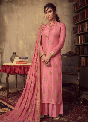 Pink Zari Reception Designer Palazzo Salwar Suit