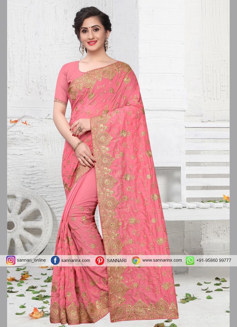 Pink Zari Silk Contemporary Saree