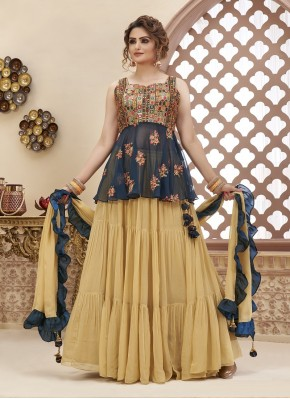 Piquant Designer Ready made Palazzo Dress Embroidery Work in Georgette
