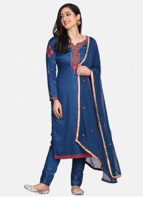Piquant Embroidered Blue Designer Straight Suit