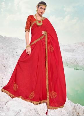 Piquant Lace Vichitra Silk Maroon Classic Designer Saree