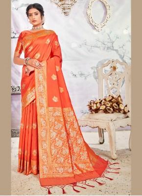 Piquant Orange Wedding Designer Traditional Saree