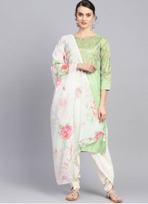 Piquant Poly Silk Green Print Readymade Suit