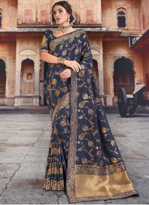 Piquant Silk Blue Traditional Saree