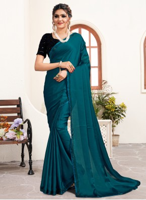 Piquant Teal Satin Classic Designer Saree