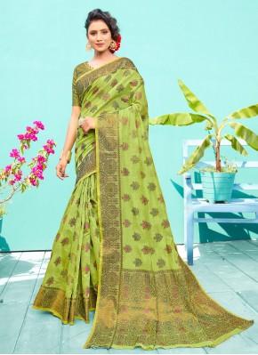 Piquant Weaving Green Silk Traditional Designer Saree