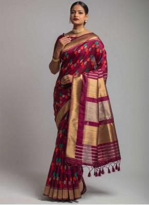 Piquant Weaving Magenta Tussar Silk Traditional Designer Saree
