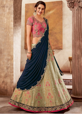 Pista Green and Blue Silk Designer Woven Lehenga Saree with Frill Border