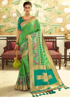 Pista Green Banarasi Silk Traditional Woven Saree