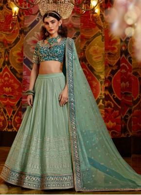 Pista Green Chiffon Semi Stitched Suit Material for Engagement