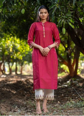 Plain Cotton Party Wear Kurti in Hot Pink