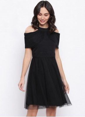 Plain Net Party Wear Kurti in Black