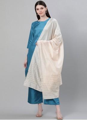Plain Poly Silk Pakistani Salwar Kameez in Blue