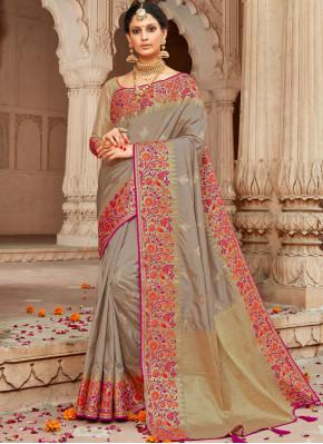 Pleasance Brown Weaving Classic Designer Saree