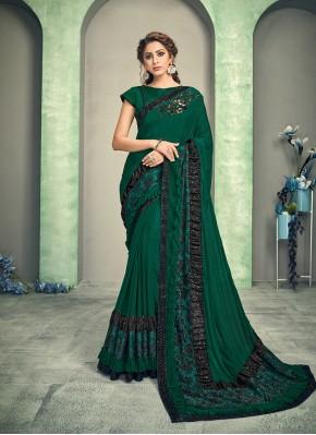 Pleasance Green Lycra Designer Saree