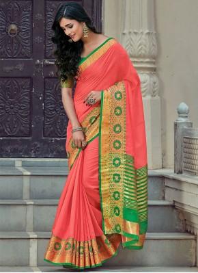 Pleasance Handloom Cotton Peach Woven Classic Designer Saree