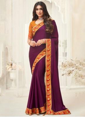 Pleasance Purple Border Silk Contemporary Saree