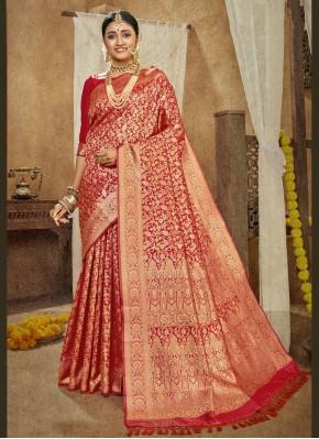 Pleasance Weaving Banarasi Silk Red Designer Traditional Saree