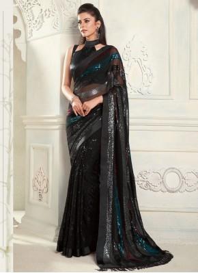 Pleasing Black Fancy Classic Designer Saree