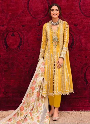 Pleasing Cotton Embroidered Pant Style Suit