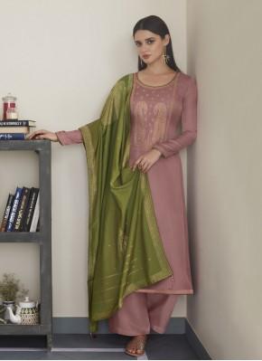 Pleasing Embroidered Silk Pink Designer Pakistani Suit