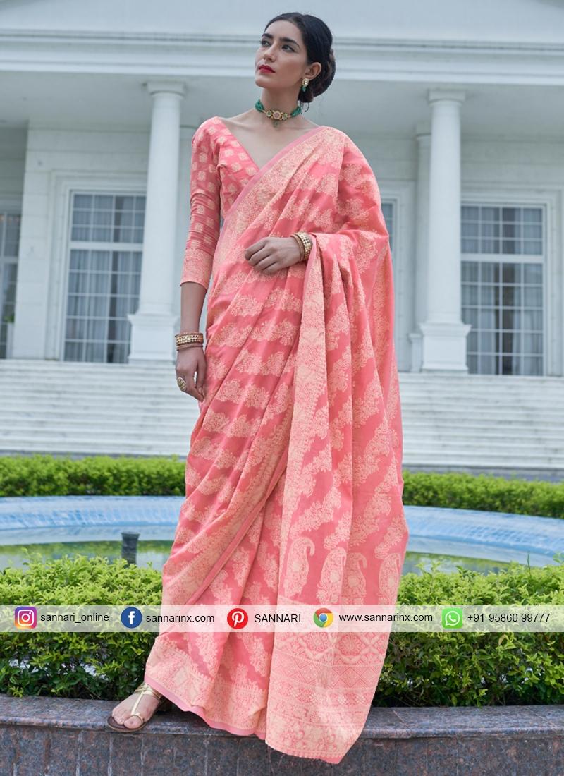Pleasing Pink Silk Traditional Saree